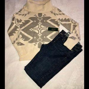 Ralph Lauren cream&gray aztec cowl neck sweater